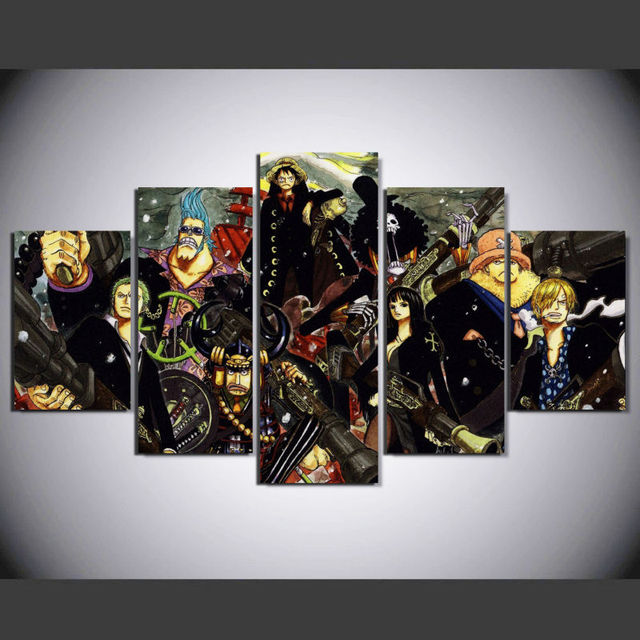 5 Panel Animated Cartoon ONE PIECE Wall Art Picture Home Decoration ...