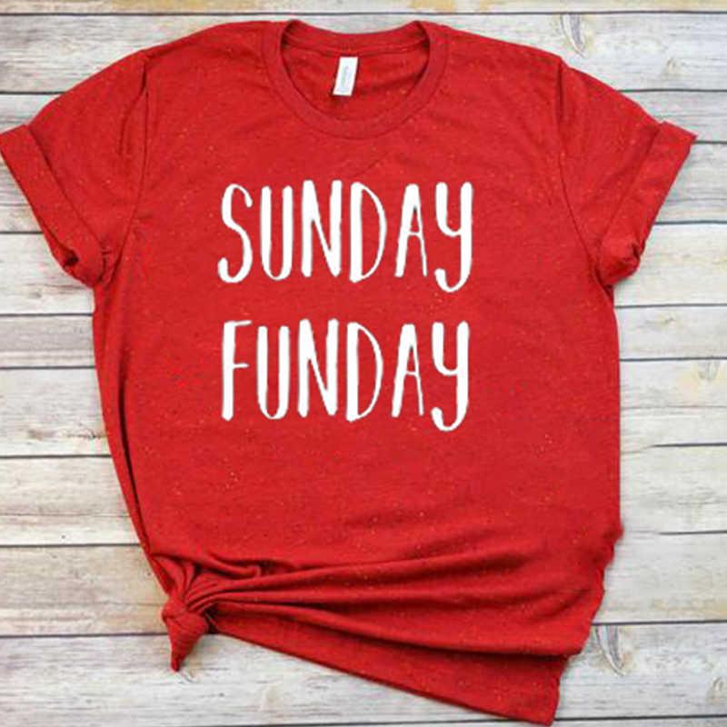Женская Винтажная Футболка Sunday Funday белая Повседневная футболка с круглым
