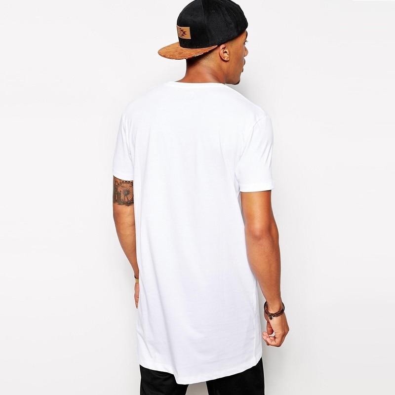 2018 Brand New Men's Clothing White long t shirt Hip hop StreetWear t-shirt Extra Long Length Tee Tops long line tshirt 1