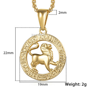 Image 5 - Mens Womens 12 Horoscope Zodiac Sign Gold Pendant Necklace Aries Leo Wholesale Dropshipping 12 Constellations Jewelry GPM24