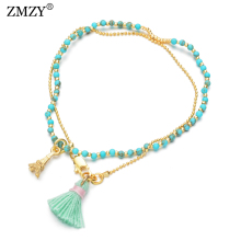 ZMZY Love Tower Tassel Charm Natural Stone Handmade Bracelet Femme Layer Beads Thin Bracelets For Women Yoga Jewelry