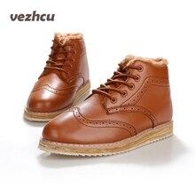 VZEHCU Vintage Marine Hommes de Cuir Appartements Richelieus Chaussures Plate-Forme Hiver Chaussures Casual Grimpante pour Hommes En Peluche Taille 39-47 p1c147