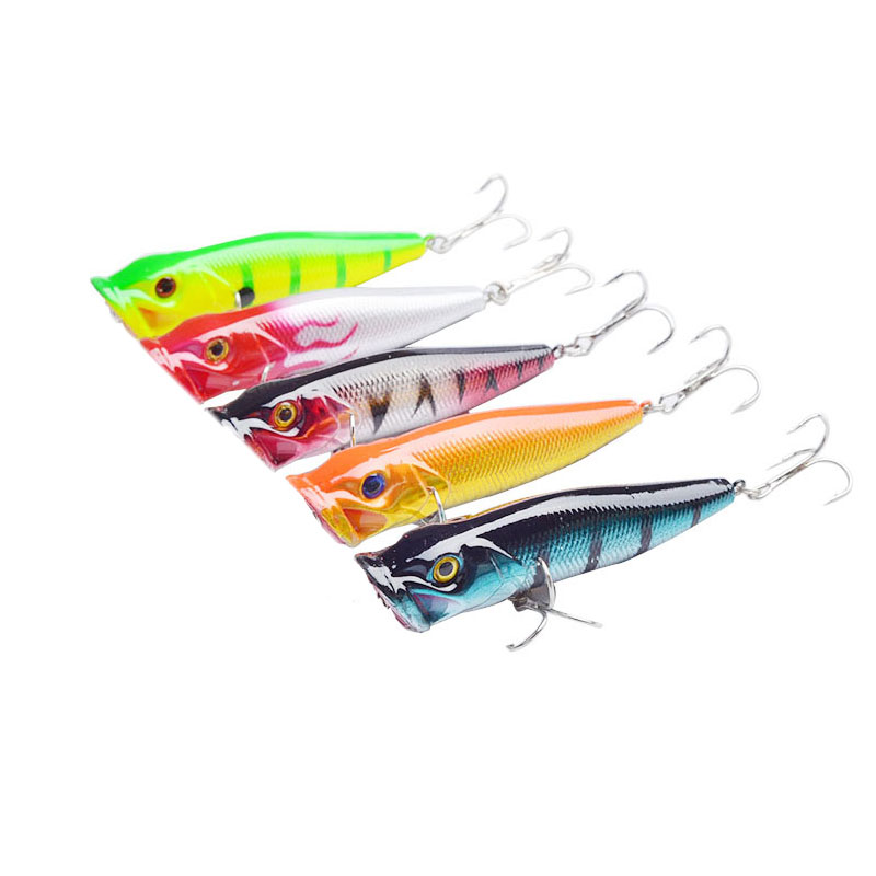 Agepoch new arrival 5pcs big popper fishing lures 3d eyes for 5 3 fishing