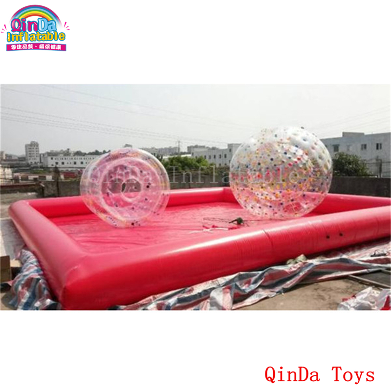 Free air pump red color giant inflatable pool,cheap price inflatable water pool for kids and adults funny summer inflatable water games inflatable bounce water slide with stairs and blowers