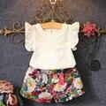 Nuevo 2016 del verano del bebé que arropan la flor de Algodón de moda de impresión shortsleeve Camiseta y ropa de las muchachas del deporte trajes