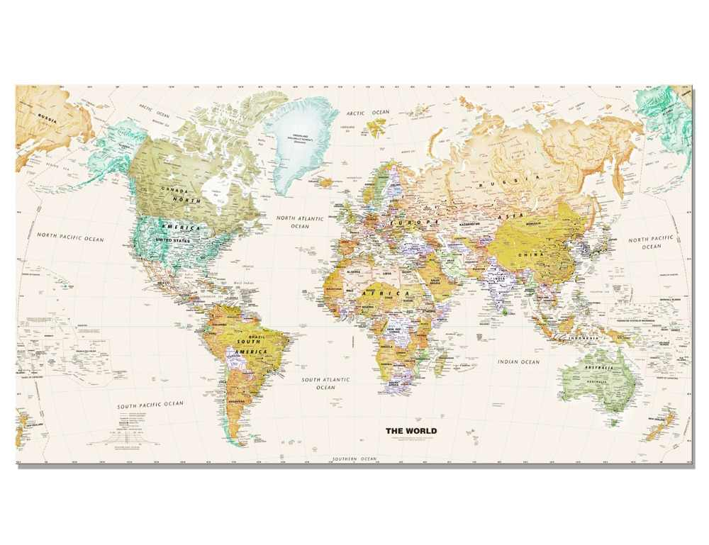 Modern Map Of The World.Modern Watercolour World Map Canvas Painting Wall Art Prints On Canvas Home Decorative For Living Room Office Unframed