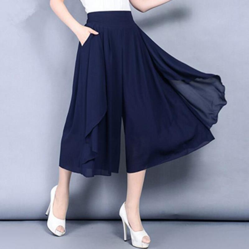 2018 New Fashion Women's Summer High Waist Double Layer Chiffon   Wide     Leg     Pants   Casual Trousers Flares Skirt   Pants