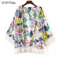 Printed Tassel Chiffon Kimono Women Regular Casual Floral Women Clothing Colorful Flower Printed Office Party Shirt