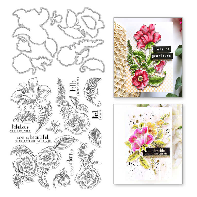 Naifumodo Flower Plant Clear Stamps and Metal Cutting Dies Leaves Scrapbooking New Craft Dies Set Album Embossing Decor Stencils
