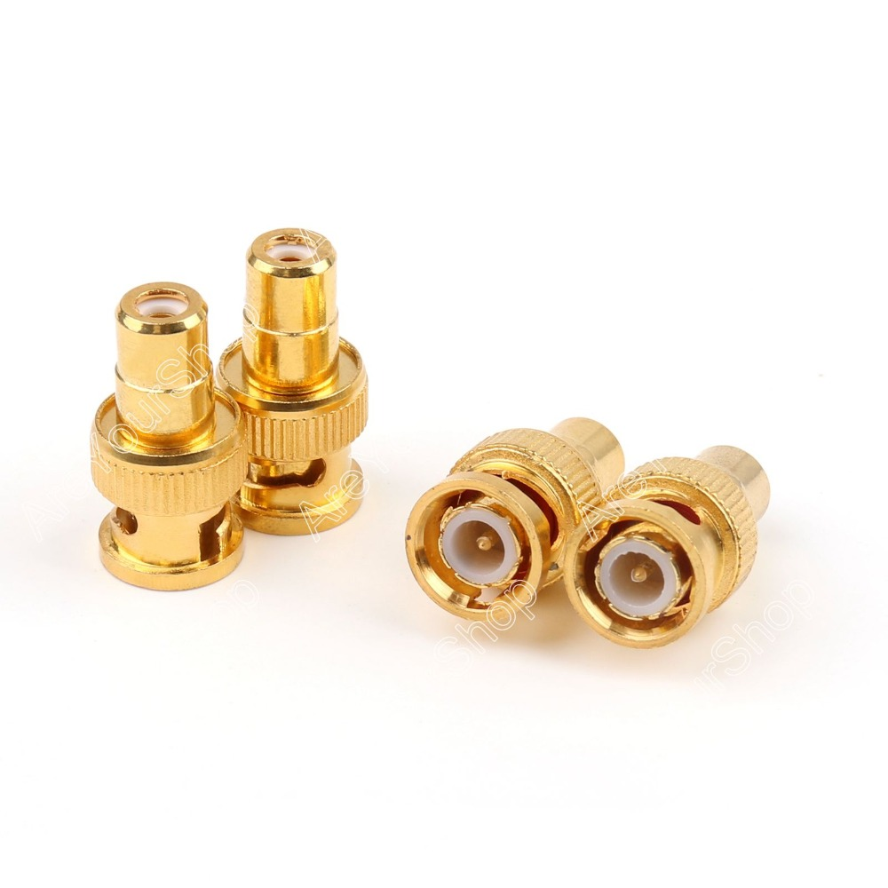 10PCS Gold Plated BNC Female To RCA Phono Male Adapter For Dvr CCTV Video Camera 10pcs new 4pcs gold plated cctv rca phono male plug connectors cable av jack protector red