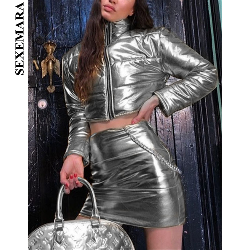 SEXEMARA Silver Quilted Women Two Piece Set BE51