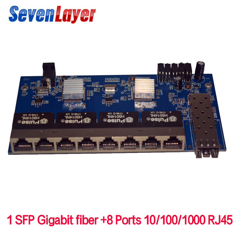 10/100/100 0 M 8 Rj45 1 Sfp Fiber Gigabit Ethernet Switch 1f8e Faser Optischen Medien Konverter Einzel Modus Pcba Bord
