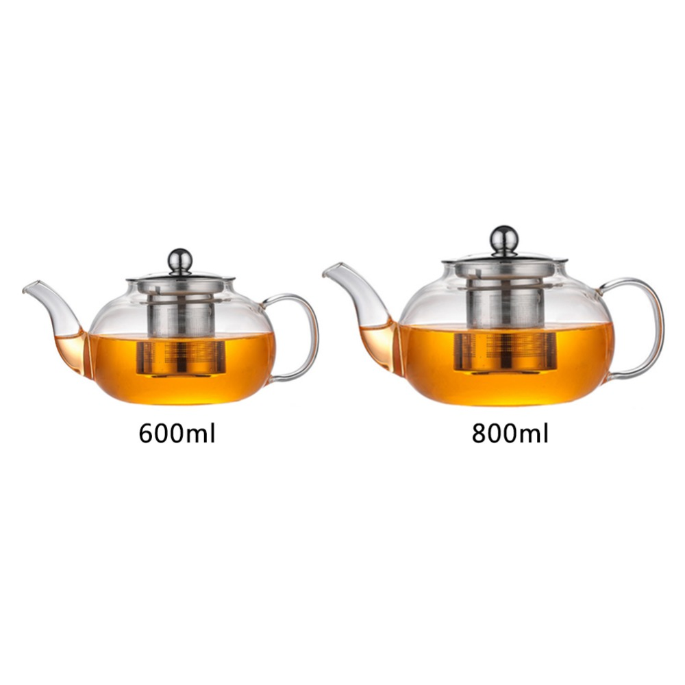 600/800ml Glass Teapot with 304 Stainless Steel Infuser Strainer Heat Resistant Loose Leaf Tea Pot Tool Kettle Set600/800ml Glass Teapot with 304 Stainless Steel Infuser Strainer Heat Resistant Loose Leaf Tea Pot Tool Kettle Set