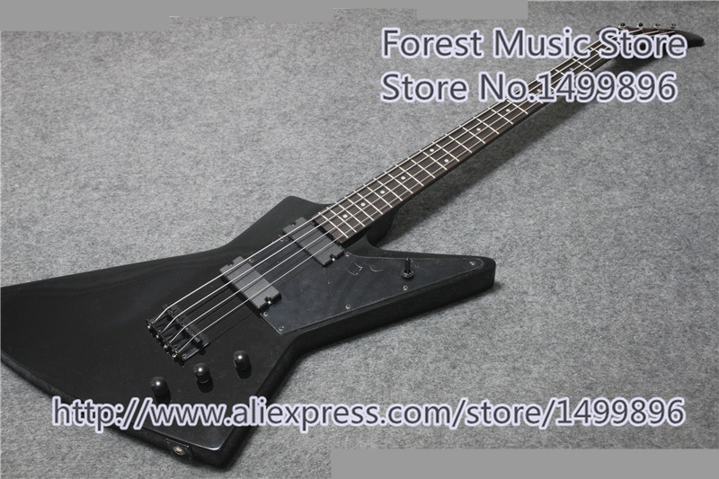 China Custom Shop Glossy Black 4 String Electric Bass Guitar Flying V Guitar Body For Sale new arrival glossy black left handed 7 string guitar electric china custom shop for sale