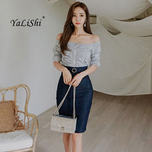 2018 Summer 2 Piece Set Women Half Sleeve Slash Neck Striped Elegant Party Top and Denim Vintage Midi Pencil Skirt Two