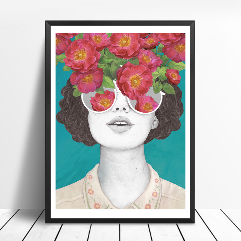 ZeroC Nordic Posters And Prints Flower Girl Portrait Wall Art Canvas Painting Pictures For Living Room Scandinavian Home Decor in Painting Calligraphy from Home Garden