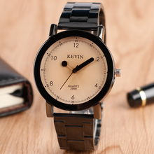 KEVIN Fashion Watches Men Women Creative Simple Matches Pointer Wrist Watch Stainless Steel Band Quartz Watch New Arrival 2017