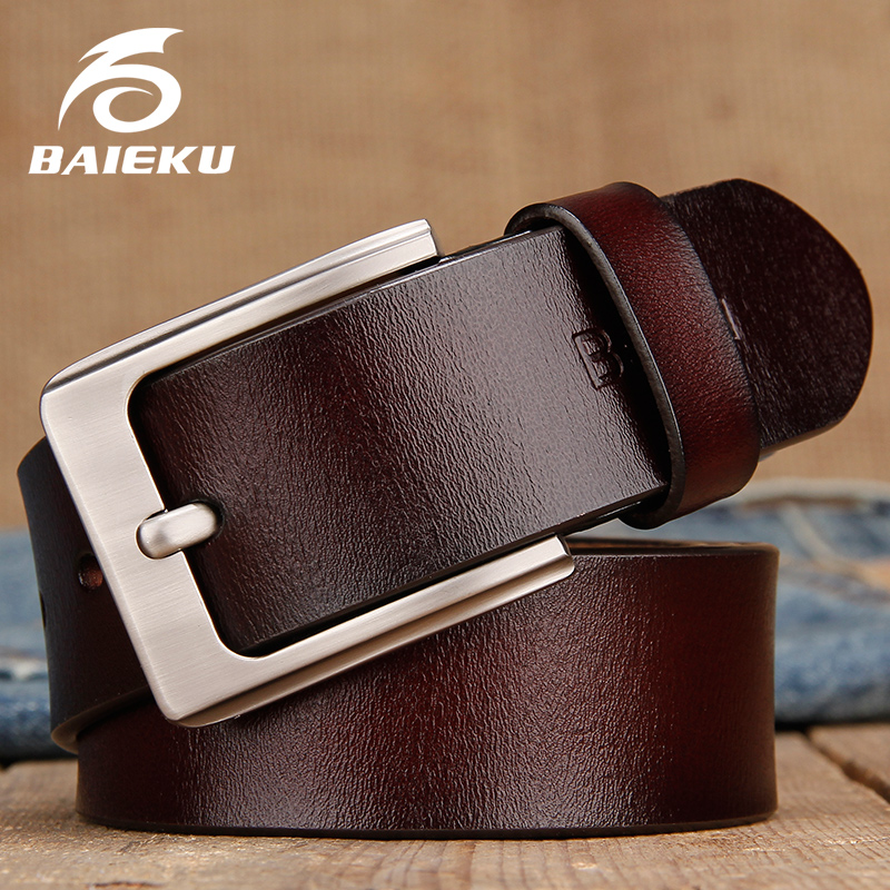 Fashionable Metal Automatic Buckle Strap Men Genuine Leather Belt For Male Jeans