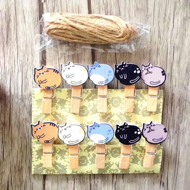 10pcs/Lot Cute Cartoon Cat Solider Yellow Doll Design Mini Wooden Clips With Rope Funny Food Clip Students' Puzzle DIY Tools