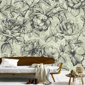 Best Wholesale Rose Wallpaper,hand Drawn Roses,retro Pattern Wall Painting For Living Room Bedroom Restaurant Background Wall Vinyl Wallpaper