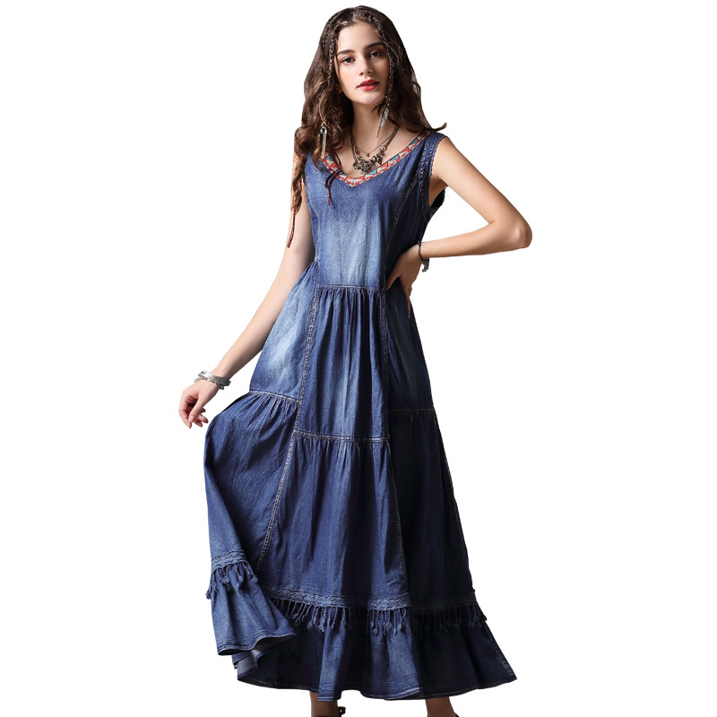 Pour filles robe en denim femme printemps-été robe vintage mode euro-américaine élégante robe longue avec broderie et col en V