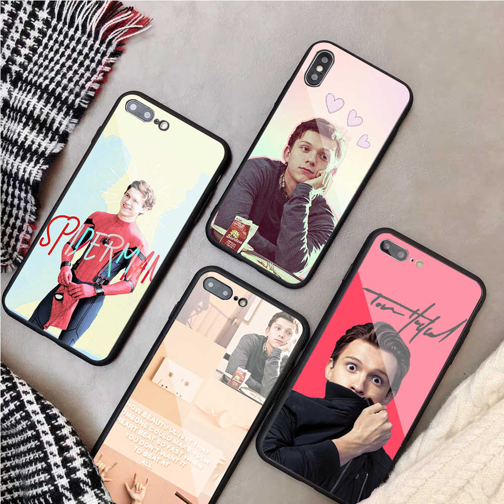 Marvel Spider Man Tom Holland หรูหรา toughened glass สำหรับ iPhone 5 SE 6 6 plus 7 7 plus 8 8 plus iPhone X XR XS Max