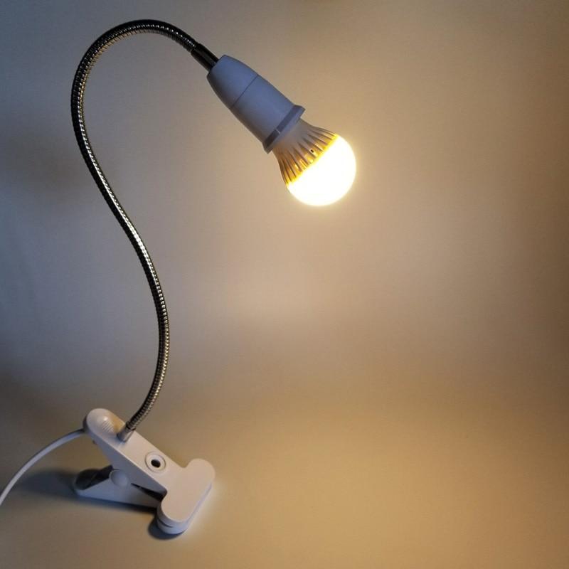 360 Grados Flexible Titular de la l/ámpara de Clip E27 Base con en del Interruptor Pies enchufes Noche de la luz l/ámpara de Escritorio