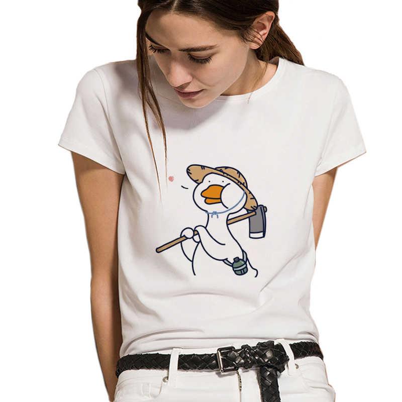 Harajuku חמוד חקלאי ברווז חולצה קוריאני סגנון Kawaii בעלי החיים מודפס חולצת טי קיץ אופנה מזדמן O-צוואר קצר שרוול Tees חולצות