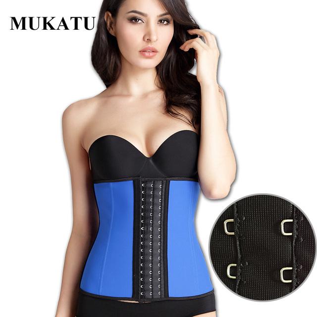Mukatu nueva hebilla grande 9 de cintura de la talladora del corsé del hueso de acero 100% látex cintura trainer body shaper corsé mujeres faja de cintura de la correa delgada