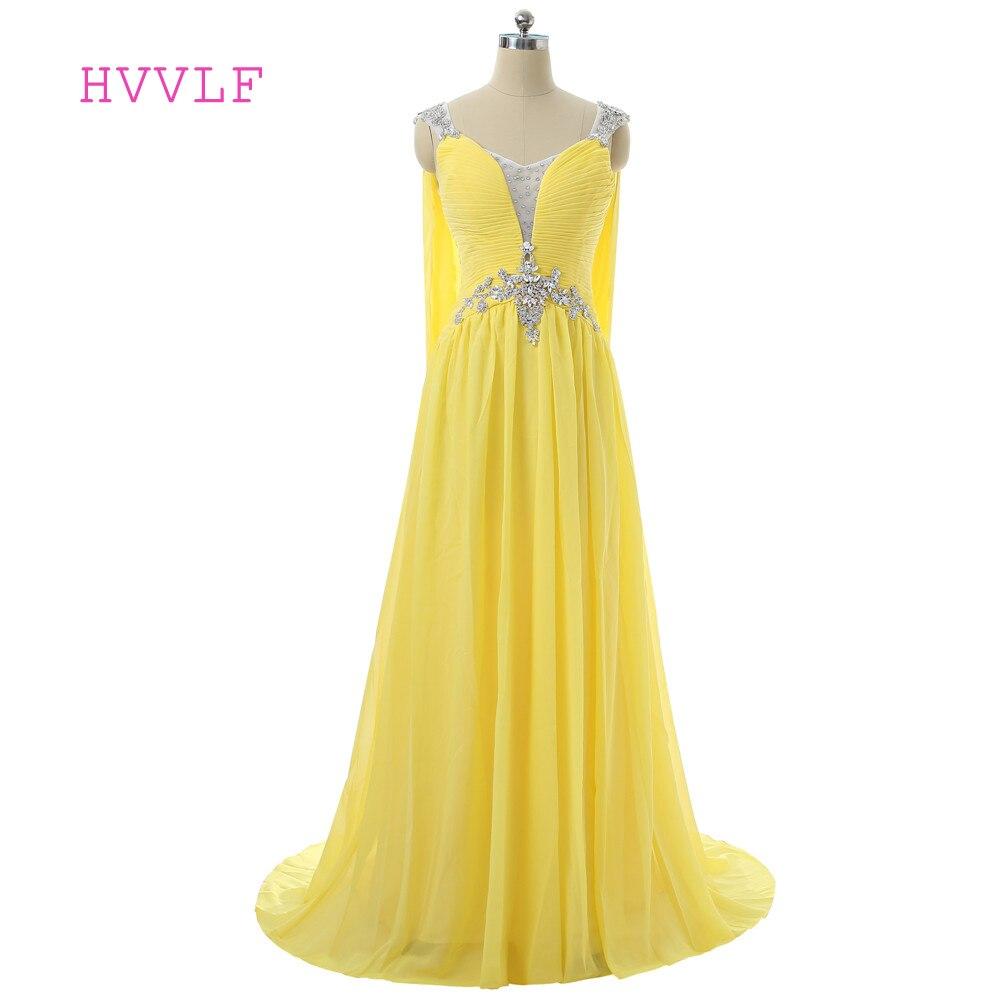 Robes De soirée jaunes 2019 a-ligne col en v Cap manches en mousseline De soie cristaux dos ouvert longue Robe De soirée Robe De bal Robe De soirée