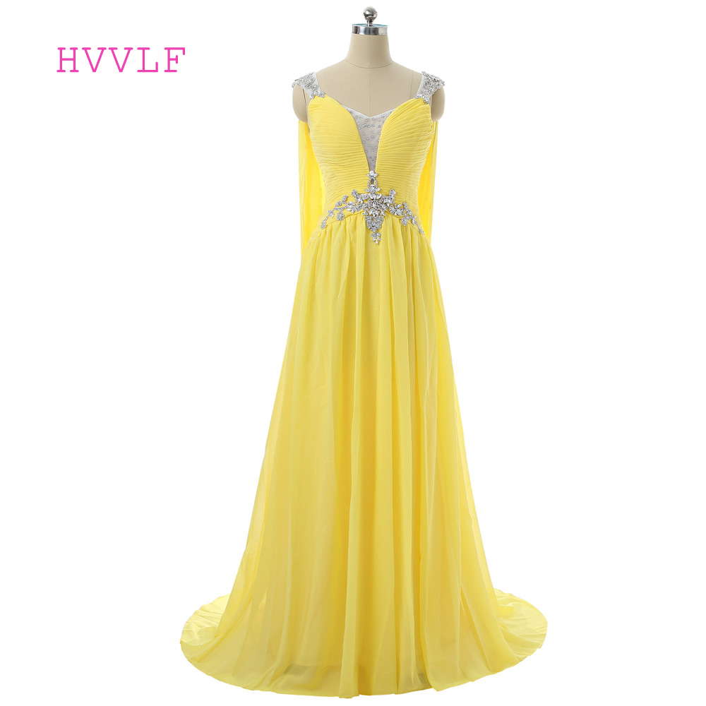 Yellow Evening Dresses 2018 A line V neck Cap Sleeves Chiffon Crystals Open Back Long Evening Gown Prom Dress Robe De Soiree