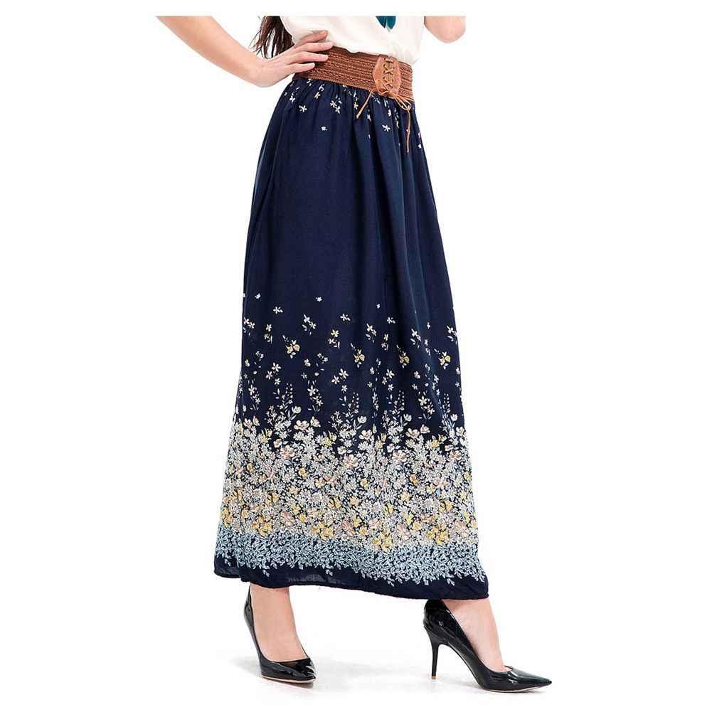 c3d5d23edcc Для женщин новые летние элегантные длинная юбка пляжное богемное макси юбки  Высокая Талия Повседневные принты бинт