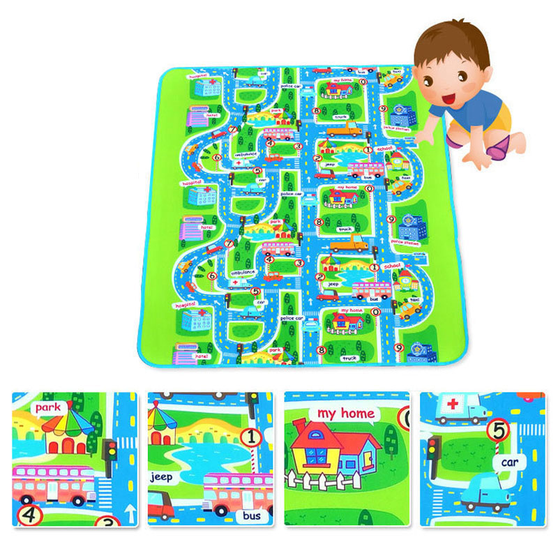 Fashion Children Play Mats City Road Pattern Moisture-proof Carpet Baby Kids Game Crawl Mat Outdoor Picnic Camping Rugs ...