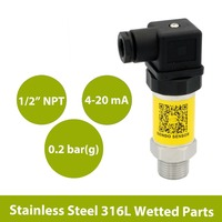 0 0.2 bar  0 3 psi sensor pressure transmitter  4 20mA output air water and oil transducer  9 30 V DC power  1 2 in NPT thread