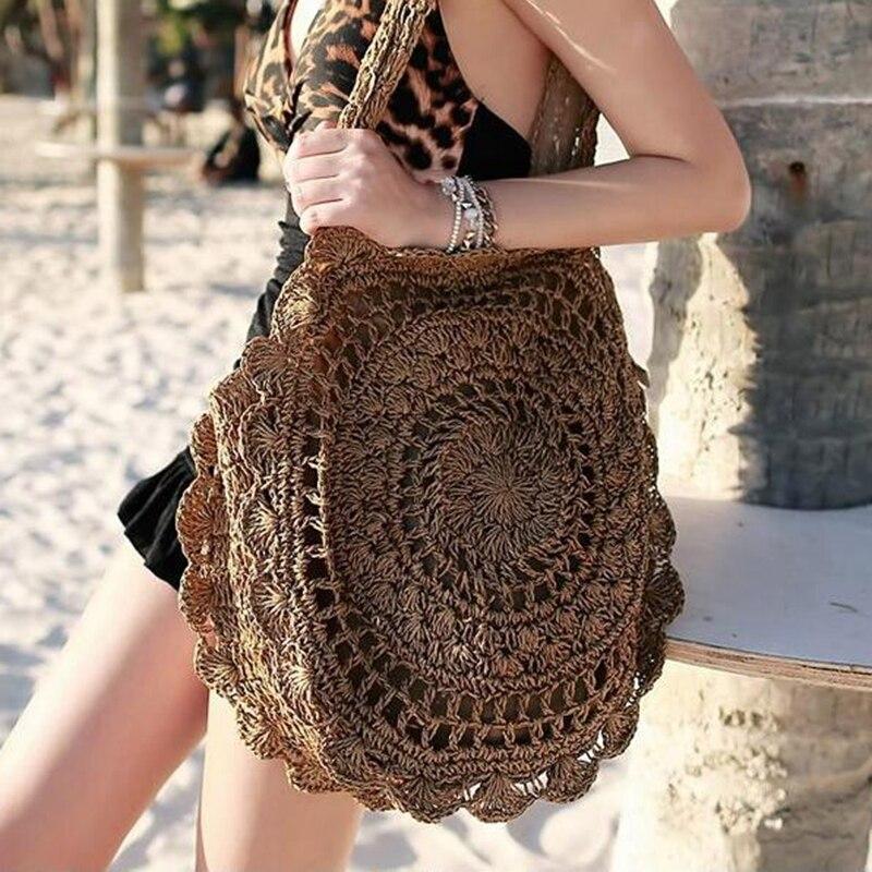 2019 Bohemian Straw Bags For Women Big Circle Beach Handbags Summer Vintage Rattan Bag Handmade Kintted Travel Bags  XS-523