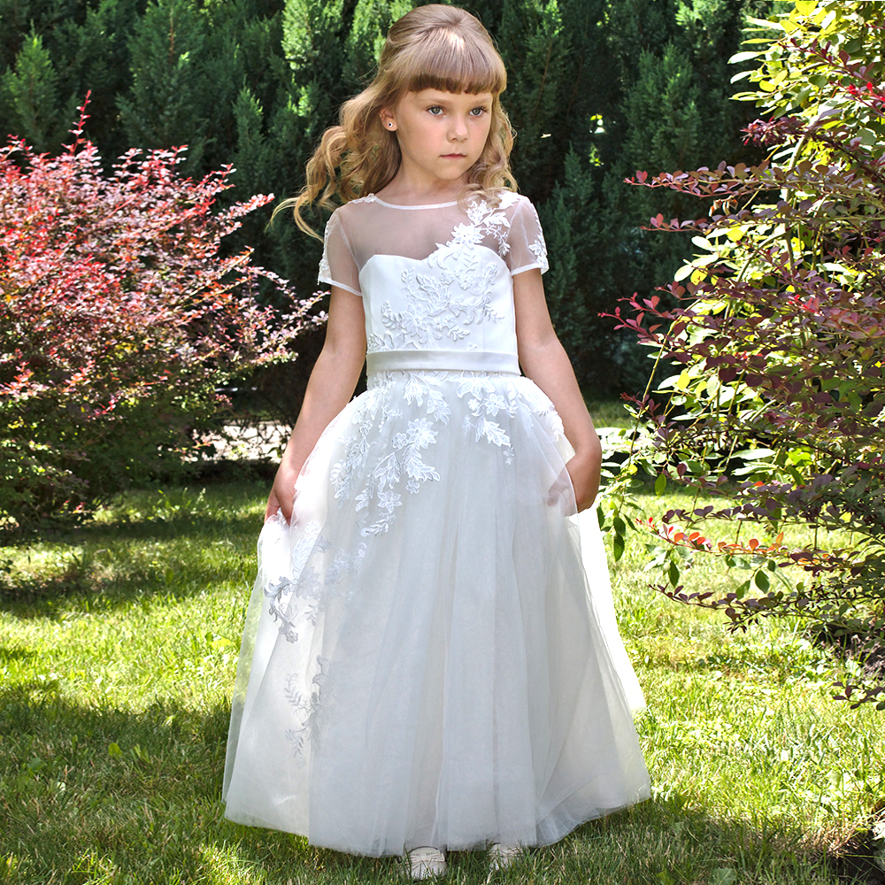 Loverxu Elegant Scoop Ball Gown Floor Length   Flower     Girl     Dresses   Chic Applique Short Sleeve Backless Lace Up Wedding Party   Dress