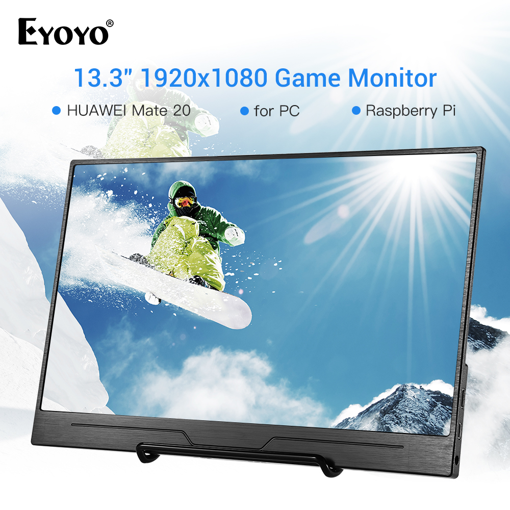 Eyoyo EM13N 13.3 Monitor FULL HD 1920*1080 HDMI LCD Monitors with HDMI VGA Video Audio CCTV PC Gaming Monitor Raspberry PiEyoyo EM13N 13.3 Monitor FULL HD 1920*1080 HDMI LCD Monitors with HDMI VGA Video Audio CCTV PC Gaming Monitor Raspberry Pi