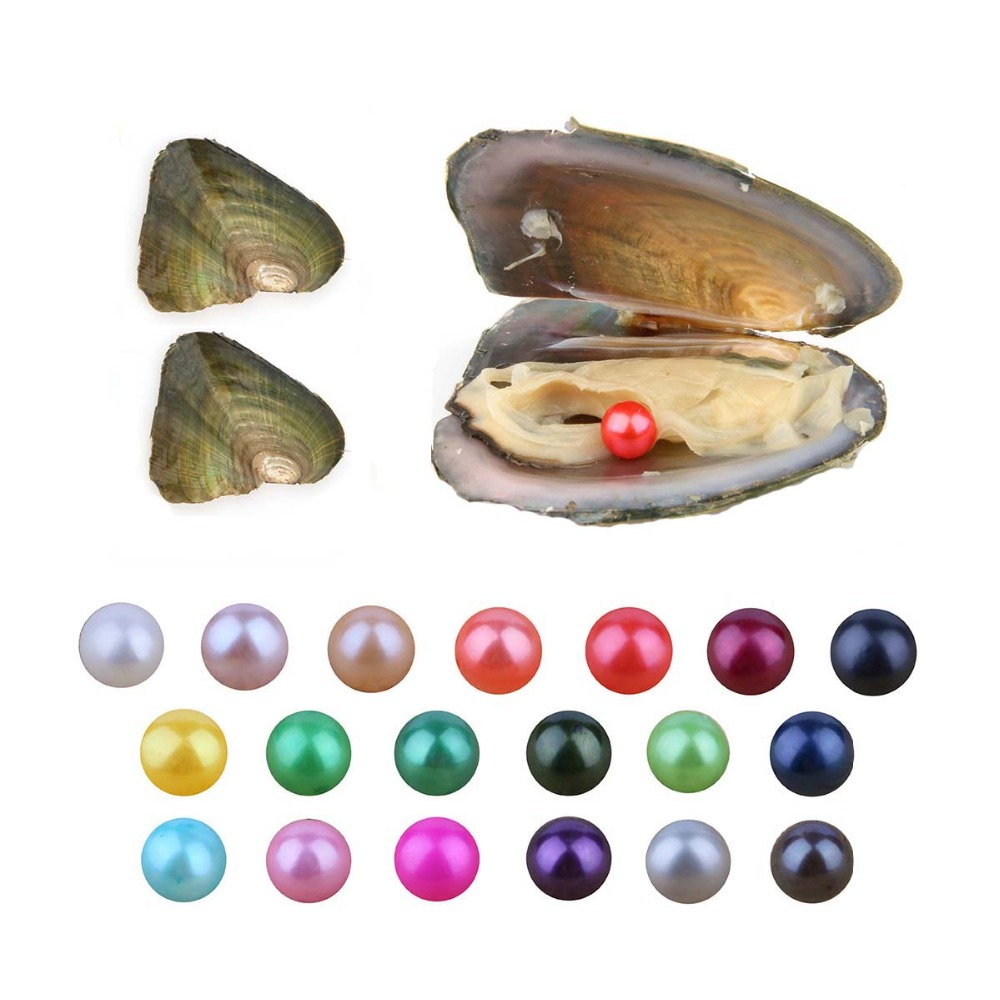 10pcs Love Wish Round Pearl 7-8mm Freshwater Cultured Pearl Oyster AA Grade Gift