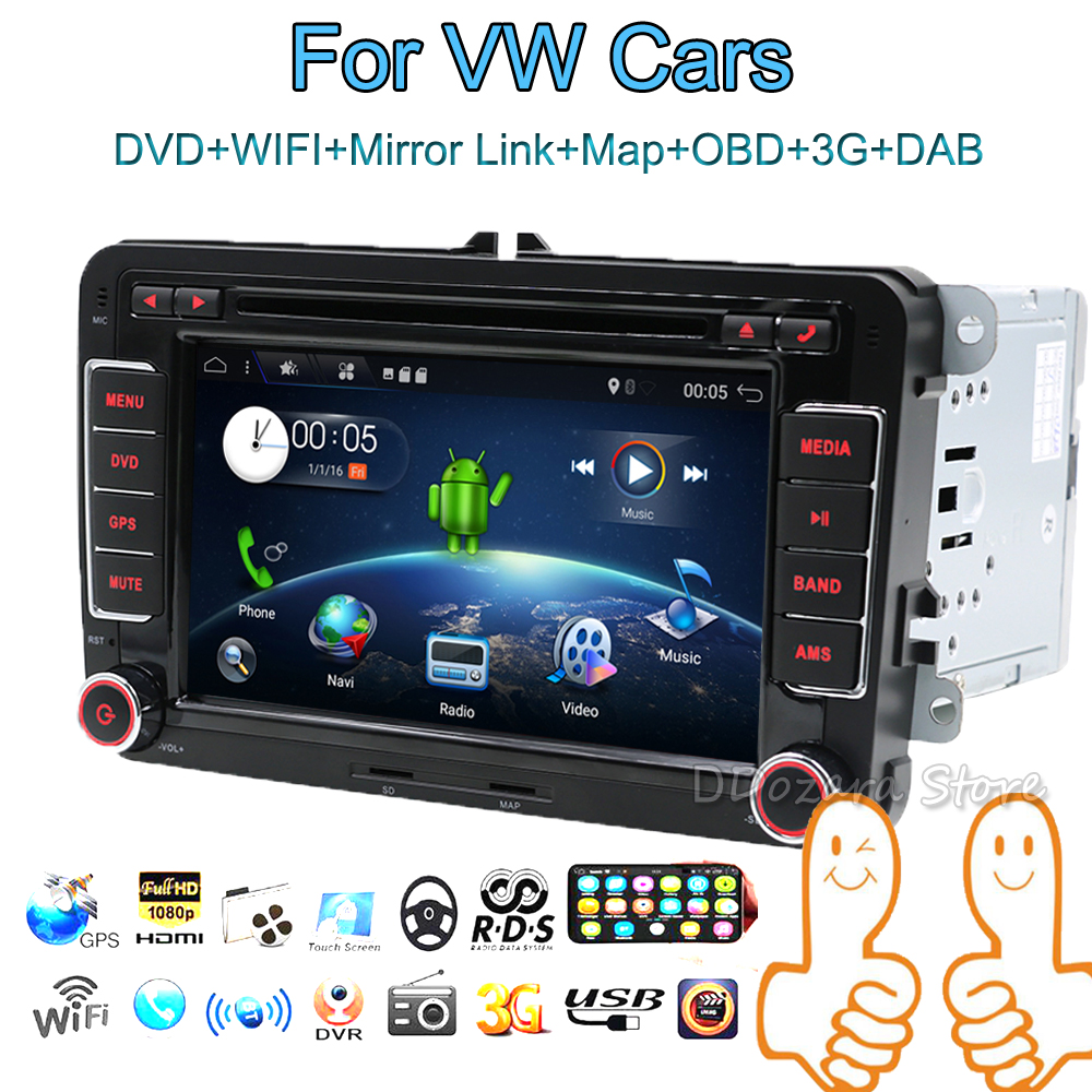 Android 7.1 car dvd player gps navigation for VW skoda yeti superb rapid fabia octavia car video player radio gps 2 din