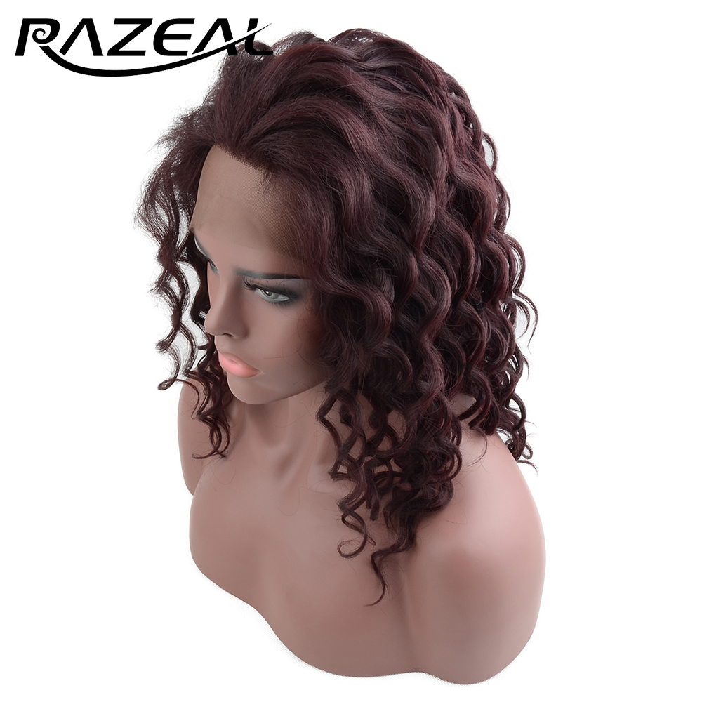 Razeal Synthetic Short Bob Wigs Deep Wave Lace Front Wig Free Part with Natural Hairline for Party Cosplay Wig