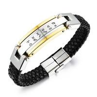 LINSOIR 2017 Vintage Leather 12 Constellation Bracelet Bangles For Men High Quailty Stainless Steel Leather Bracelet