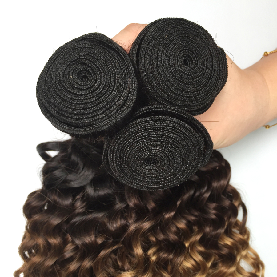 Ombre Human Hair Bundles With Closure Honey Blonde Deep Wave Brazilian Remy Hair Weave 3 Bundles With Closure 1B 4/27 Malaysian