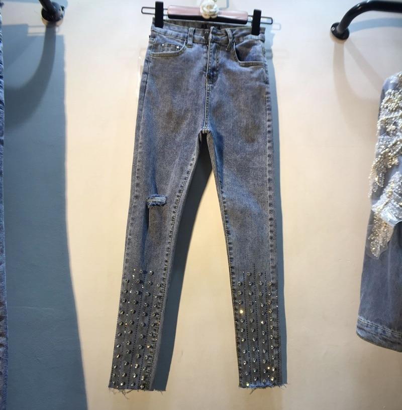 Denim Vintage Female Ripped High Street Handmade Diamonds Crystal Holes Pencil Jeans Bling Bling Pants Women