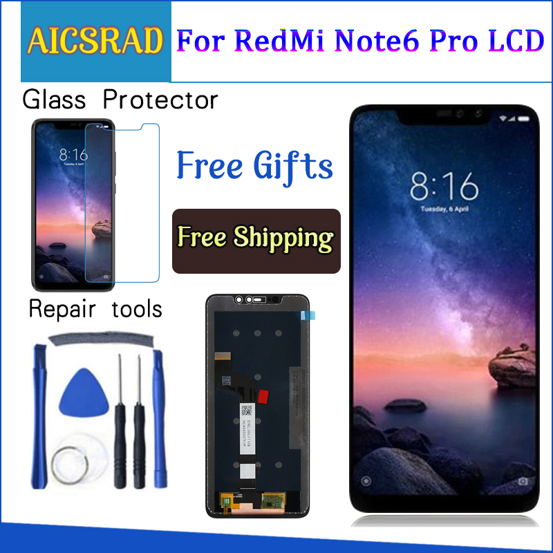 For XiaoMi Redmi Note 6 Pro LCD Display+Touch Screen Digitizer Assembly Repair Parts With Tools +Adhesive For Redmi Note 6ProFor XiaoMi Redmi Note 6 Pro LCD Display+Touch Screen Digitizer Assembly Repair Parts With Tools +Adhesive For Redmi Note 6Pro