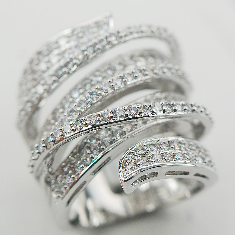 Micropave Кристалл Циркон кольцо стерлингового серебра 925 Размеры 6 7 8 9 10 11 A11