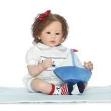 High-end silicone reborn dolls 22″ fake baby girl doll reborn soft cloth body root eyelash hair child xmas gift doll bebe boneca