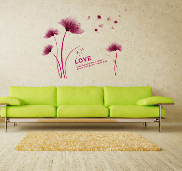 New Design Fashion Romantic Love Dream Flower Home Decoration Wall Stickers Living Room Entrance Decals