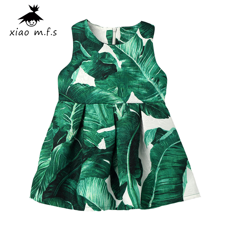 baby girl clothes Dress Party Dresses flower Princess Costume Robe Enfant kids dresses for girls Tropical leaves MFS7438-E  girls party dresses silk chiffon 2017 brand toddler dress princess costume for kids clothes flower robe enfant children dress