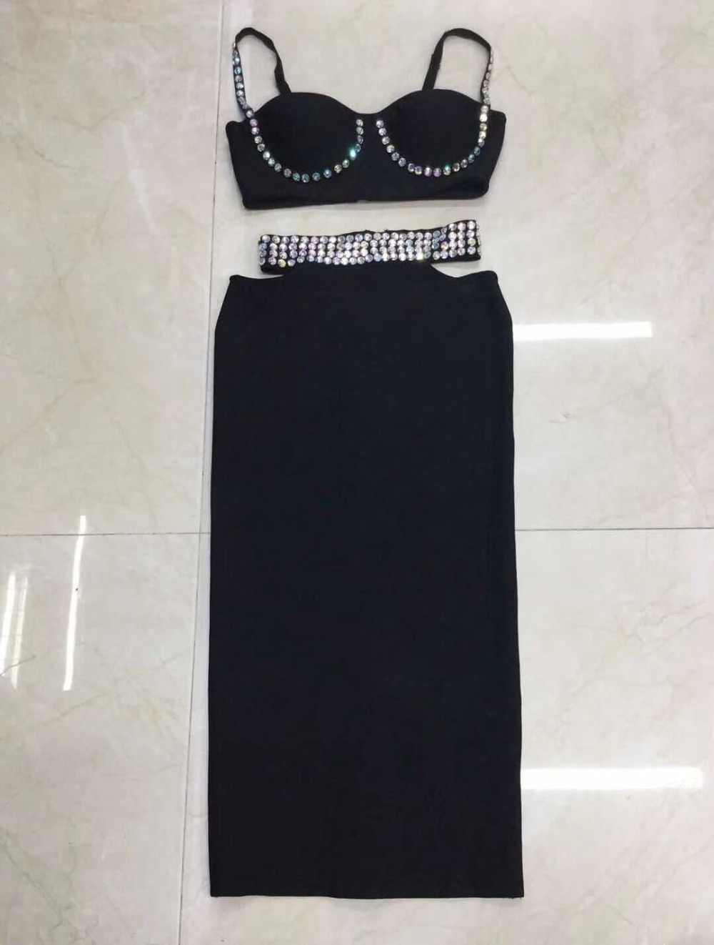 2019 new Black suspender beaded 2 piece set bandage dress  Sexy evening Party Bodycon wholesale womens clothing autumn spring