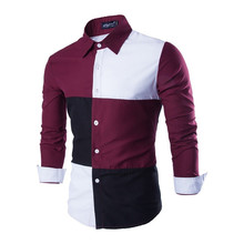 Brand New Men s Casual Patchwork Shirt Social Stitching Color Shirt Full Sleeve Turn Down Collar